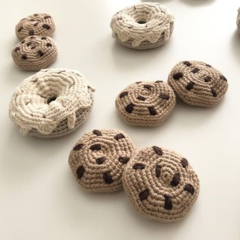 Crochet Toy Cookies - 2.5 in - 6.5 cm diameter
