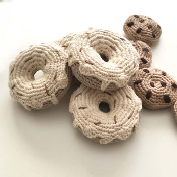 Crochet Toy Donut - 3.5 in - 9 cm diameter