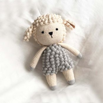 "Crochet Lamb Doll 9.8"" - 26 cm"