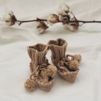 Luna Pompom Booties - Birch