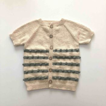 Popcorn Stripes Vest , natural + mint