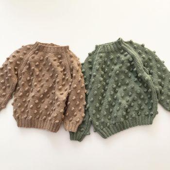 Popcorn Sweater - mint, birch