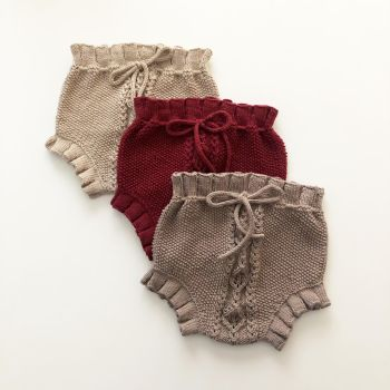 Rococo Bloomers - deep red, taupe, beige