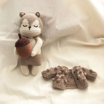Babytoly Squirrel + Acorn + Popcorn Cardigan Set