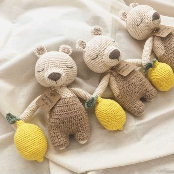 "Teddy Bear w/ Lemon 9.8"" - 26 cm"